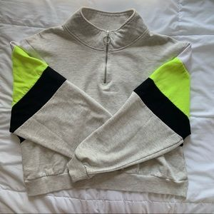 Divided Cropped Quarter Zip Sweatshirt